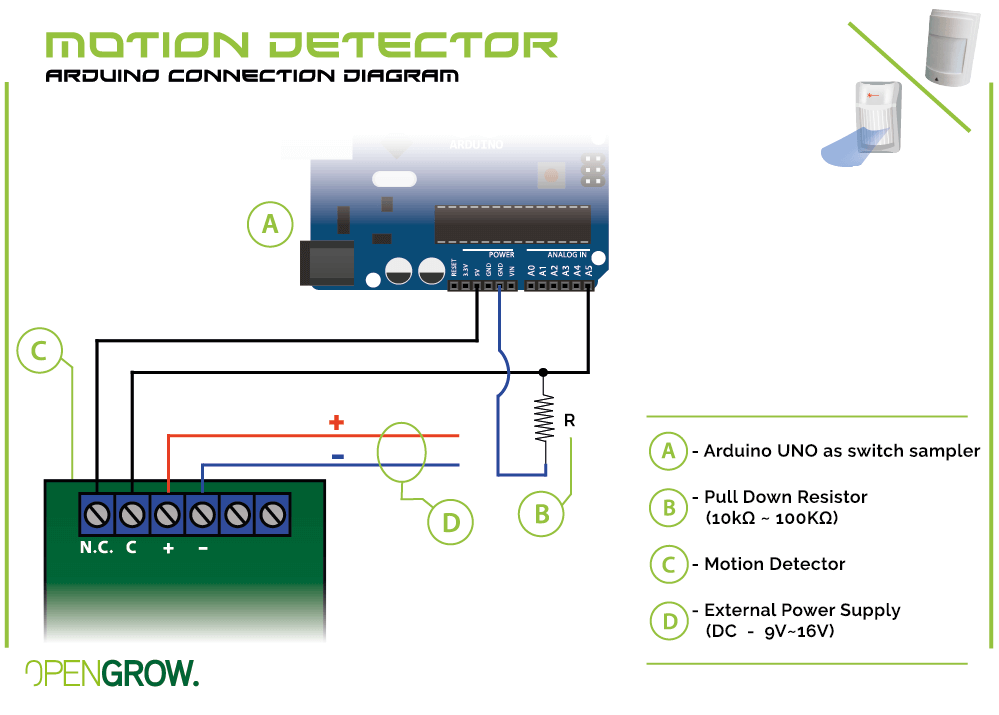 GroLab Motion Detector connection diagram to Arduino