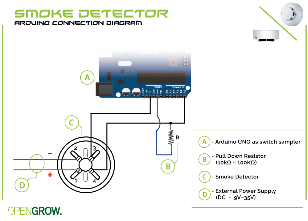 GroLab Smoke Detector connection diagram to Arduino
