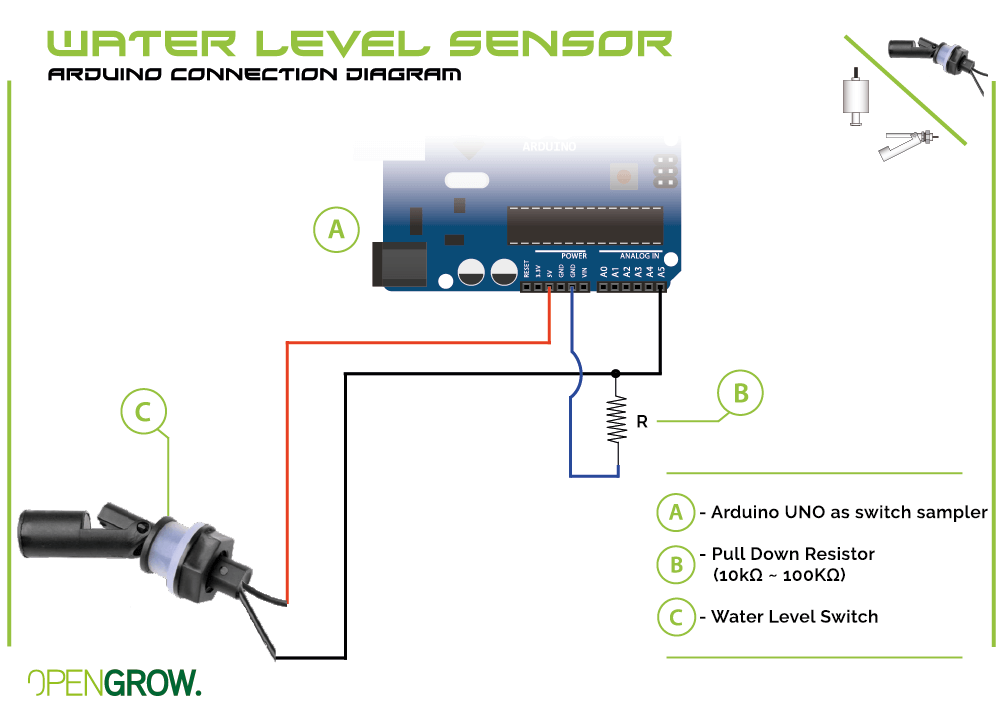 GroLab Water Level sensor connection diagram to Arduino