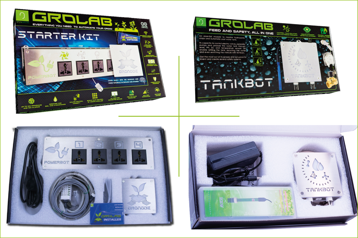 GroLab Hydro Kit open and close packaging, composed by two boxes, one for Starter Kit other for TankBot Kit